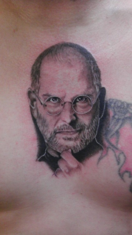 Steve Jobs portrait done by me. Tattoos by SODAPOP. Enjoy.