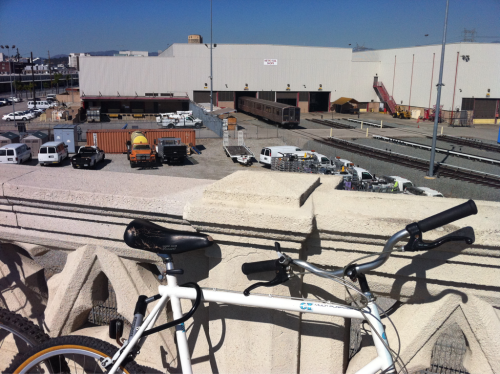 Multimodal. Red Line Rail Yard, as seen from 4th St Bridge. CicLAvia.
