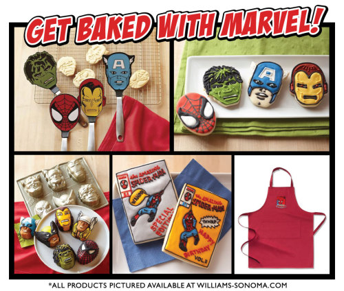 MARVEL BAKES!-Take a look at these way cool Marvel baking sets and accessories available at Williams-Sonoma.com. Links below!Marvel Cookie Cutters: http://bit.ly/nNg7CK Marvel Cakelette Pan: http://bit.ly/pQQefE Marvel Flexi Spatulas: http://bit.ly/o1F5FU Marvel Aprons: http://bit.ly/rsce8W