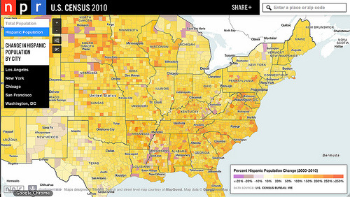 sunfoundation:  Mapping Latinos in the United States with NPR  The Hispanic population in the United States has grown significantly  in the past decade, with Latinos now making up every 1 in 6 residents.  Much of the rapid growth - 118 counties have experienced a population  change of more than 250%, four have experienced change of more than  1000% - is in the South and Midwest, areas that previously had low  Hispanic populations. This morning NPR kicked off a series chronicling this population change and how its changing our overall makeup as a country and impacting  towns across the United States. As part of its coverage, NPR is using an  interactive map of Census data to show the story of population change.