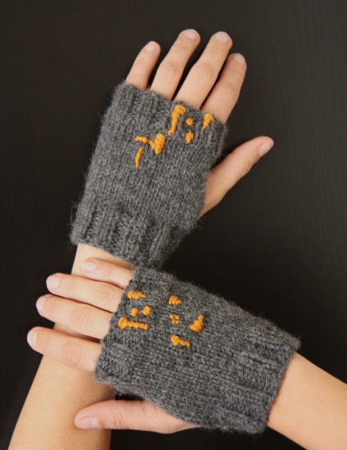 Hand knitted fingerless gloves in grey 100% merino wool and a burnt sienna cotton abstract design.
