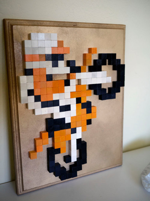 Excite Bike 8-Bit Wood Mosaic - by 8BitMonkey Available for $50 USD at Etsy.