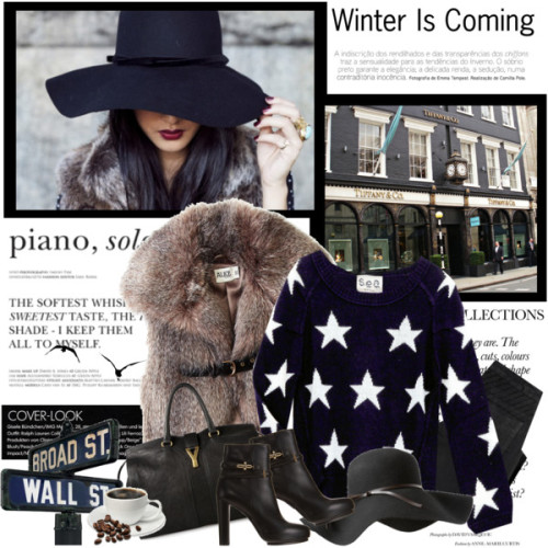 Winter is coming… by tugce featuring a floppy brim hat