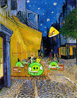 Cafe of Pigs. Artist: Vincent Van GohVillain: Pigs (Angry Birds)
