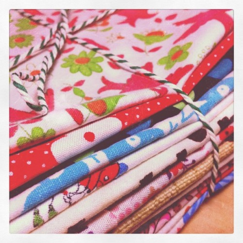 vintage fabric bundles for the shop #vintagefabrics #vintage #sewing #DIY #bundle #fabrics (Taken with instagram)