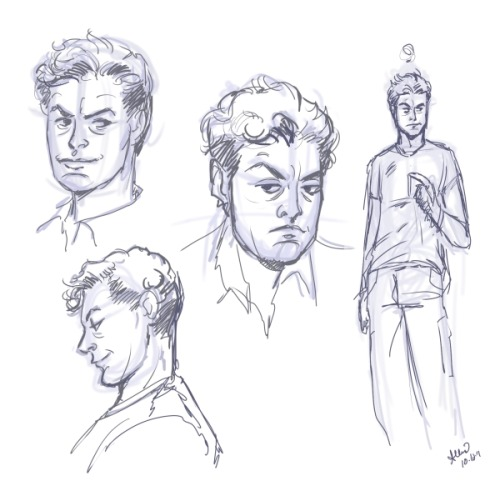 I misplaced my original quick character sketch page for Parker the maintenance guy (I'm not sure which folder i put it in, oops), so I whipped up a new one.