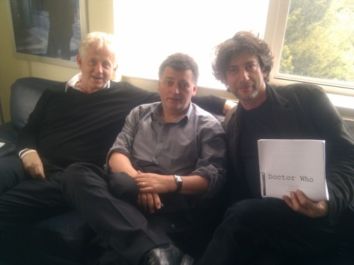 neil-gaiman:  Me, Steven Moffat and Richard Curtis (who was there to see the final edits of Vincent and the Doctor) at the Doctor Who offices. I am folding over my script and trying to hold my fingers so you can't see the title (which, at that point, was BIGGER ON THE INSIDE). When I originally put this up as a Twitpic, it had the caption Who are these three middle aged men? Dear God, what are they plotting? Can no one save us?
