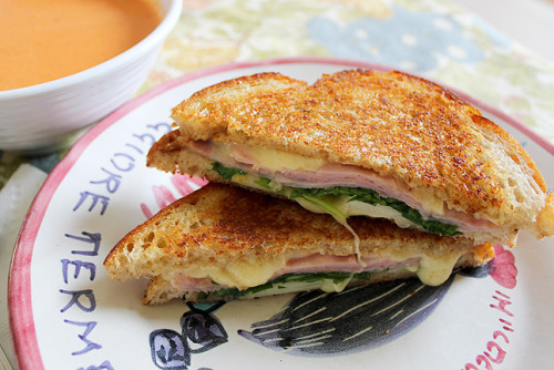 gastrogirl:  pressed ham, pear, and gruyere sandwich.