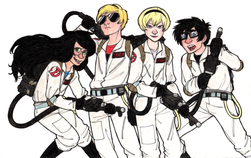 muffinpoodle:  Whoops forgot to put this here! Homestuck kids as Ghostbusters. Ghostuckbusters? idk. It's the perfect crossover guys. Dave is the Peter, Rose is the Egon, John is the Ray and Jade is the Winston. Yeeeaaaah. I might have to draw some more for this at some point. Oh yeah the click-through link will take you to a larger dump of Homestucks on my deviantART. |D