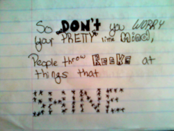 This is what happens when I get bored in class.  But, I think it's a good message for all of us to remember.  STAY STRONG!!