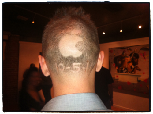 One person's tribute to Mr. Jobs. (Spotted him during First Friday.)