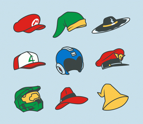 pwnlove:  Hat's off to our favorite video game characters. Video Game Hats by         Ryan Mauskopf (Tumblr) (deviantART) (Twitter).  T-shirt available for $20 at BustedTees. (via thelifeofryan and justinrampage)