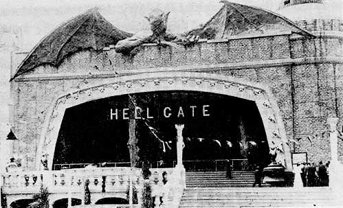 "atrialflutters:  On May 27th 1911, a fire in the boat ride ""Hell Gate"" burnt down the entire Dreamland park in Coney Island. Once the fires were put out, coney island charged people to explore on the ashes and ruins of the park."