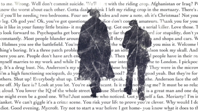 sherlockinprint:  Sherlock and John in stamp like silhouettes. All words behind them are from 'A Study in Pink'. Enjoy!  this is beautiful!!!! :O