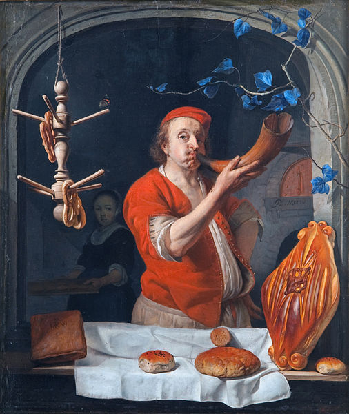 A Baker Blowing his Horn Gabriel Metsu (1629-67), 1660.