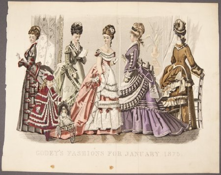 Too-small image of an awesome fashion plate, 1875 US, Godey's Lady's Book