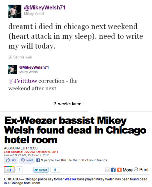 stevepethel:  Ex-Weezer bass player predicted his death.