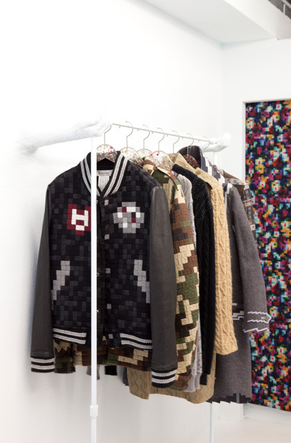 it8bit:  8-Bit Fashion  - by Kunihiko Morinaga Anrealage is a shop in Harajuku, Tokyo that specializes in pixelated clothing designs, but if you visit their store you can see an entire room in all its nostalgic 8-bit glory, right down to the pixelized light bulbs (that work!) and pixel carpet patterns. I'm just curious where they keep the power-ups. via: My Modern Met