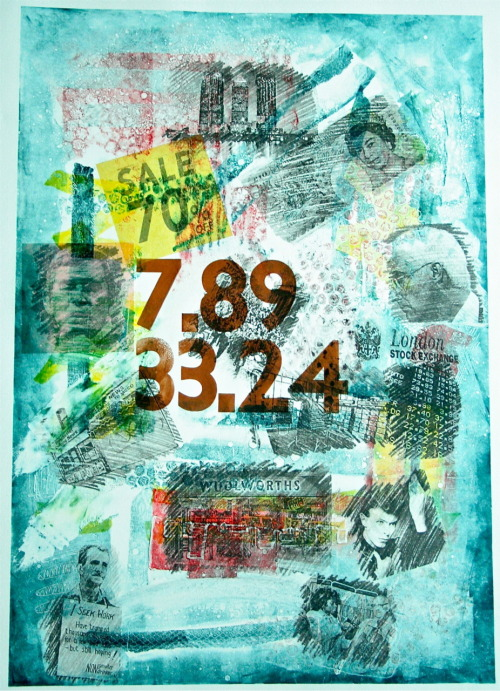 "A2,Typography, Monoprint, Photocopy Transfer, ""Recession"", 2009"