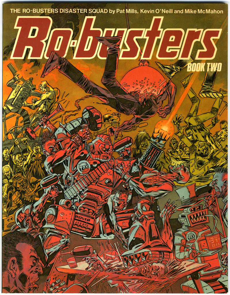 The cover to Ro_Busters book 2 featuring stories by Pat Mills and the artwork of Kevin O'Neill & Mike McMahon. A classic cover by O'Neill with tons of details to pick out. Note the robots all have tax discs, Hammerstein has his old head on, the Rover manufacturer logo and a serial number. Look to the top left and you can see the traffic light robot. This is taken from a bar fight scene in one of the stories.