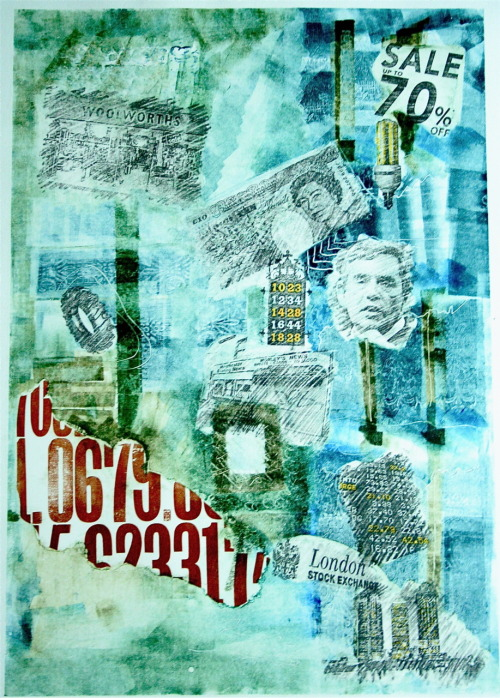 A2, Typegraphy, Monoprint, Photocopy Transfer, Recession two, 2009