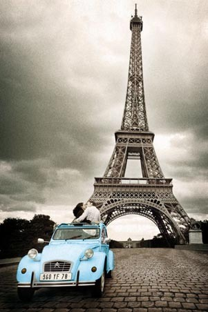 Best engagement photo idea EVER (via Kissing in the Shadow of the Eiffel Tower, Paris Photography Poster: 91.5cm x 61cm - Buy Online)