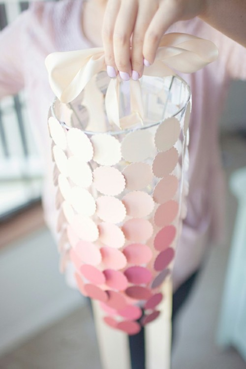 bride2be:  (via DIY Paint Swatch Chandelier :: Hey Gorgeous) i've seen a lot of strange and somewhat tacky things done with paint swatches as wedding decor lately, but this is actually very, very nice! [and ombre to boot]  Beautiful for a wedding or in my case, little girls room.