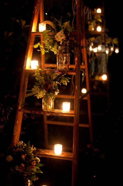 wasbella102:  Old ladders with candles and flowers