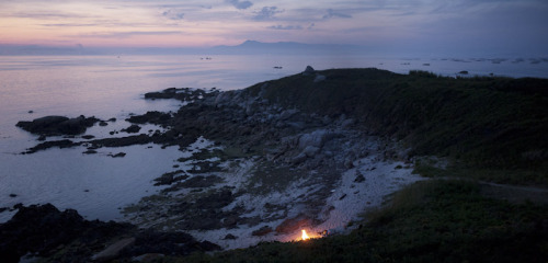Campfire on the Galician coast, Spain. 2010.