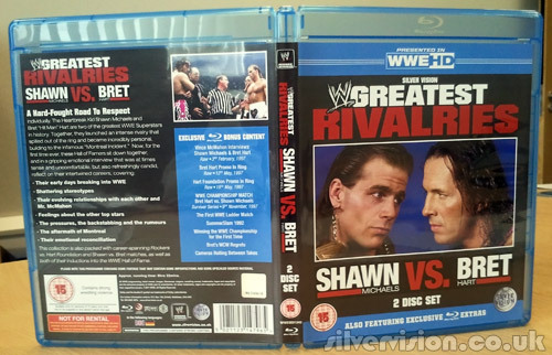 My sample of the Greatest Rivalries: Shawn Michaels vs. Bret Hart Blu-ray has just arrived and what you'll notice from the photo below is that the reverse side of the sleeve not only lists the contents but also includes some the awesome artwork from the DVD version.  Can't wait for you guys to get this and tell me what you think, and I have kept my promise to not watch it until you have your copies. Not long now - this week! I was always on the side of Shawn Michaels as he'd been my favourite since his days in The Rockers and in particular the Survivor Series 1988 match where he escaped an Arn Anderson hip toss by twisting 360 degrees round Arn's arm - anyone remember that? It should be a fascinating look back at arguably the greatest rivalry in WWE history.
