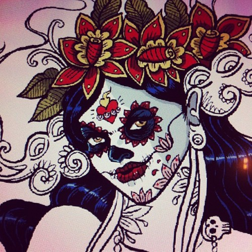 #santamuerte #dayofthedead #wip  #drsketchy #poster #Paris #Mexico  (Taken with Instagram at The Village)