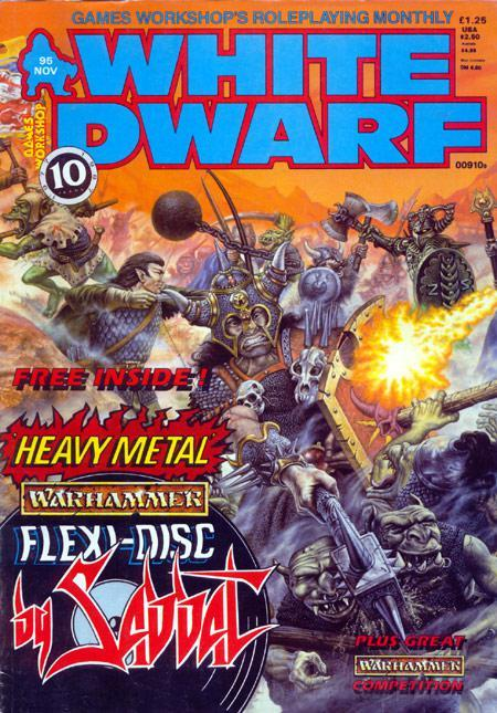 White Dwarf 95, November 1987. John Sibbick, 1987. Yes, it really came with a flexi-disc of Sabbat's Warhammer-inspired Blood For The Blood God. You can hear it here.