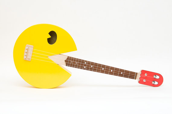 Pac Man Ukulele - by celentanowoodworks Available on Etsy for $600.00 USD