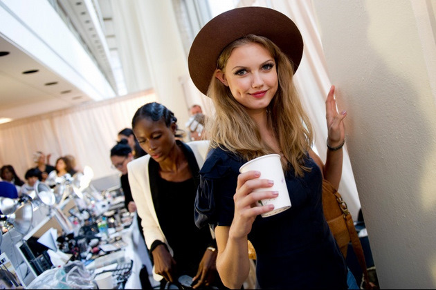 via studdedhearts Lindsey Wixson backstage at NYFW Spring/Summer 2012