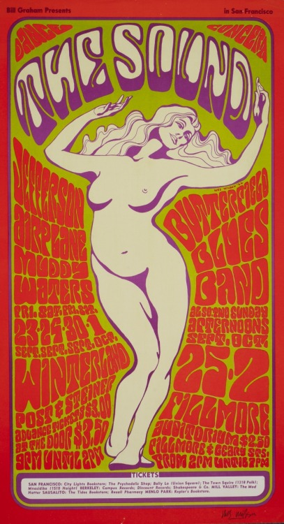 Jefferson Airplane, Butterfield Blues Band, Muddy Waters at Winterland, San Francisco, California, 1966. Artist: Wes Wilson. via kogart.hu