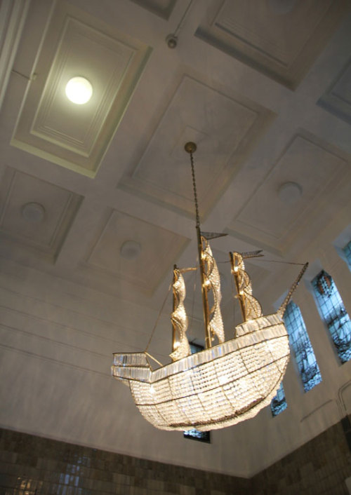 A ship-shaped chandelier in Amsterdam (via Amsterdam Style: Life at the Lloyd Hotel | Apartment Therapy New York)
