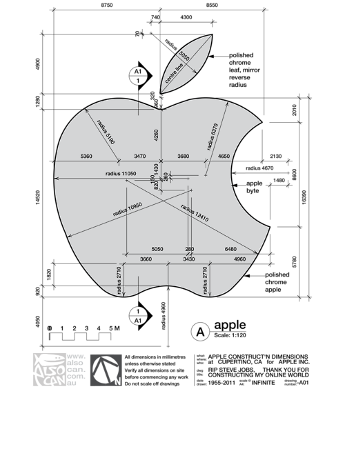 asdevargas:  Logo de Apple, lección de geometría descriptiva  Black & White Illustration | 1843