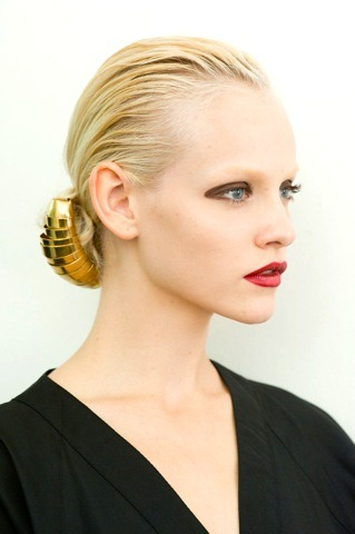 stunning backstage shot of Ginta @ysl. hair by @redken5thavenue's @guidopalau, makeup by Pat McGrath. and because I know many, many, many of you will ask, the lipstick used was YSL Beaute's gorgeous Rouge Volupte No 17