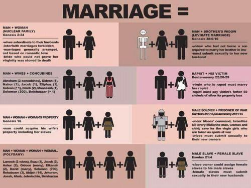 LGBTQ* Graphs, Charts and Pictorial Break Downs  Traditional Marriage — Reading the Bible literally (click image for larger version)