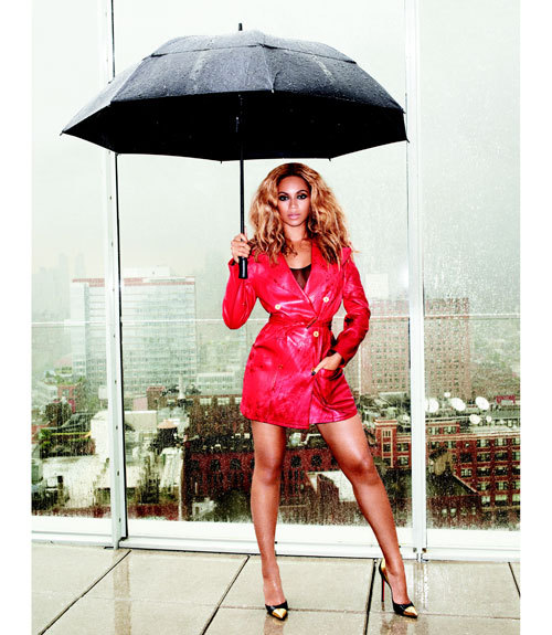 Beyonce in the rain on top of The Standard, New York! Photo by Terry Richardson for Harper's Bazaar.