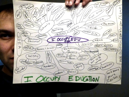 occupyedu:  I OCCUPY EDUCATION, because I want to be a part of education transformation. I occupy education because I know there are better ways to learn and live. I occupy education because there is nothing I rather be doing. I occupy education because I believe every child and adult deserves to be part of learning communities that are designed as if they matter! I occupy education because education is a human right. I occupy education because I want to help more children and adults have access to quality education and have the ability to be life long learners without mountains of debt.  I OCCUPY EDUCATION! -adventures in learning