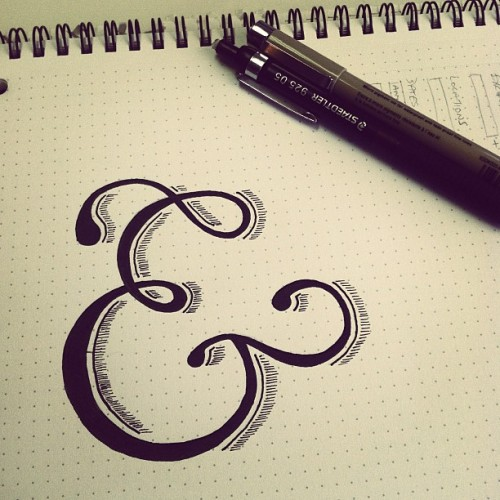 Ampersand illustration on dot-grid paper.  (Taken with instagram)