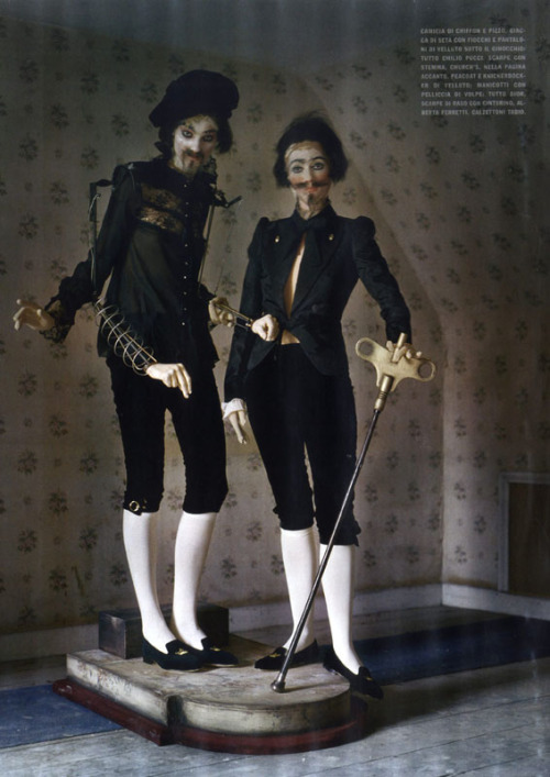 thedoppelganger:  Mechanical DollsMagazine: Vogue Italia October 2011Photographer: Tim WalkerModel: Kirsi Pyrhonen, Audrey Marnay