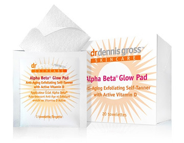 "Company: Dr. Dennis Gross Skin CareProduct: Alpha Beta Glow PadVerdict: 5/5 Okay, I'll come right out and admit it- I have always been a non-believer of self-tanners. Of course this could be because of my first experience with it, when I used my sisters gradual self-tanning lotion and came out looking like a patchy orange blob. (Okay.. I was only ten, but still!) Ever since then I've always thought of self-tanners as my nemesis. (Hence my ghostly appearance during the winter time)   However, after trying the Dr. Dennis Gross Glow Pads, anti-aging, exfoliating self tanning towelettes, my pasty skin has been history. Although I have to tell you, my first time using this product wasn't the best, and it definitely wasn't the products fault! Being the stubborn non-believer that I am, I applied the product to my legs…with my PJ pants rolled up halfway. I know- you're probably thinking ""whatta dummy"" and it's true, because the product worked like a dream!  To apply the Glow Pads its as simple as taking one of the individually packaged towelettes and applying it in an even, circular motion to wherever you need it (be sure to wash your hands right after). If you want to achieve a darker color, simply use another towelette! However, after only one towelette on each leg there was definitely a noticeable difference in my 'before and after' skin color.  I absoloutely love the concept of these products because you don't have to worry about using an un-even amount of product for each area. It's as simple as grabbing the same amount of towellets! I should also add after realzing how good the products worked, I went back and did the part of my legs I 'missed'. To my suprise even through I slightly overlapped the areas it still gave my skin an even, natural looking glow!  I highly, highly suggest Dr. Dennis Gross Skin Care Products! These self-tanners are definitely something I would feel confident enough to use to help bronze me up for my high-school graduation. Check out their website for their other awesome products and also check out my review on their Alpha Beta Skin Peel (which I also loved) here.  The Lowdown; Pros It doesn't leave your skin blotchy or orange Each towelette applied gives your skin a slightly darker, natural looking tan Easy to apply The color itself is long-lasting  Paraben Free Cruelty free AND Vegan!!  Cons Again, my only con would be the individually packaged towelettes, although they're convenient, my desire to be environmentally friendly is still tugging at my heart! However, as it stands right now, the product itself is like a fairy-tale!  www.dgskincare.com"