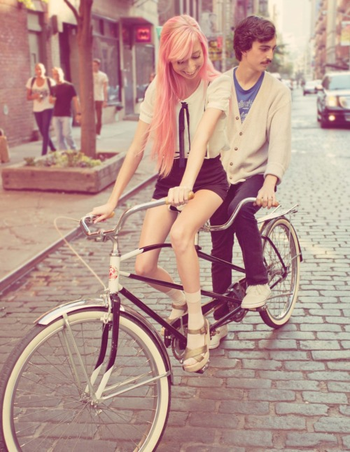 opiumpoppies:  Another photo of Zach and I on the tandem bike!