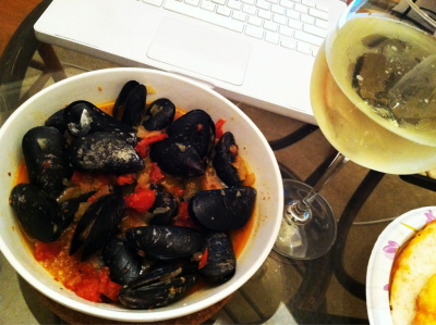 Old lady night #2- mussels in tomato & white wine sauce. Mm happiness