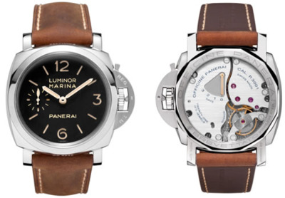"Panerai Luminor Marina 1950 3 Days ""Today marks the release of a new watch by renown Italian watch maker Panerai, the Luminor Marina 1950 3 Days or PAM 00422. The new watch comes with a bevy of new luxuries, including a brand new P. 3001 caliber which holds hours, minutes and small seconds all on the same face. It also has an impressive power reseve of three days – hence the name. The watch was inspired by a rare model produced in the 1940′s and comes with a natural calf leather band, limited to 2,000 pieces.  Source: Hodinkee"""