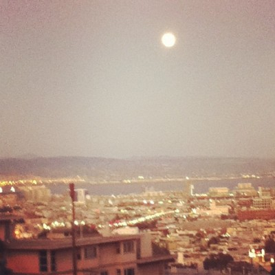 Moon rising over bay - San Francisco (Taken with instagram)