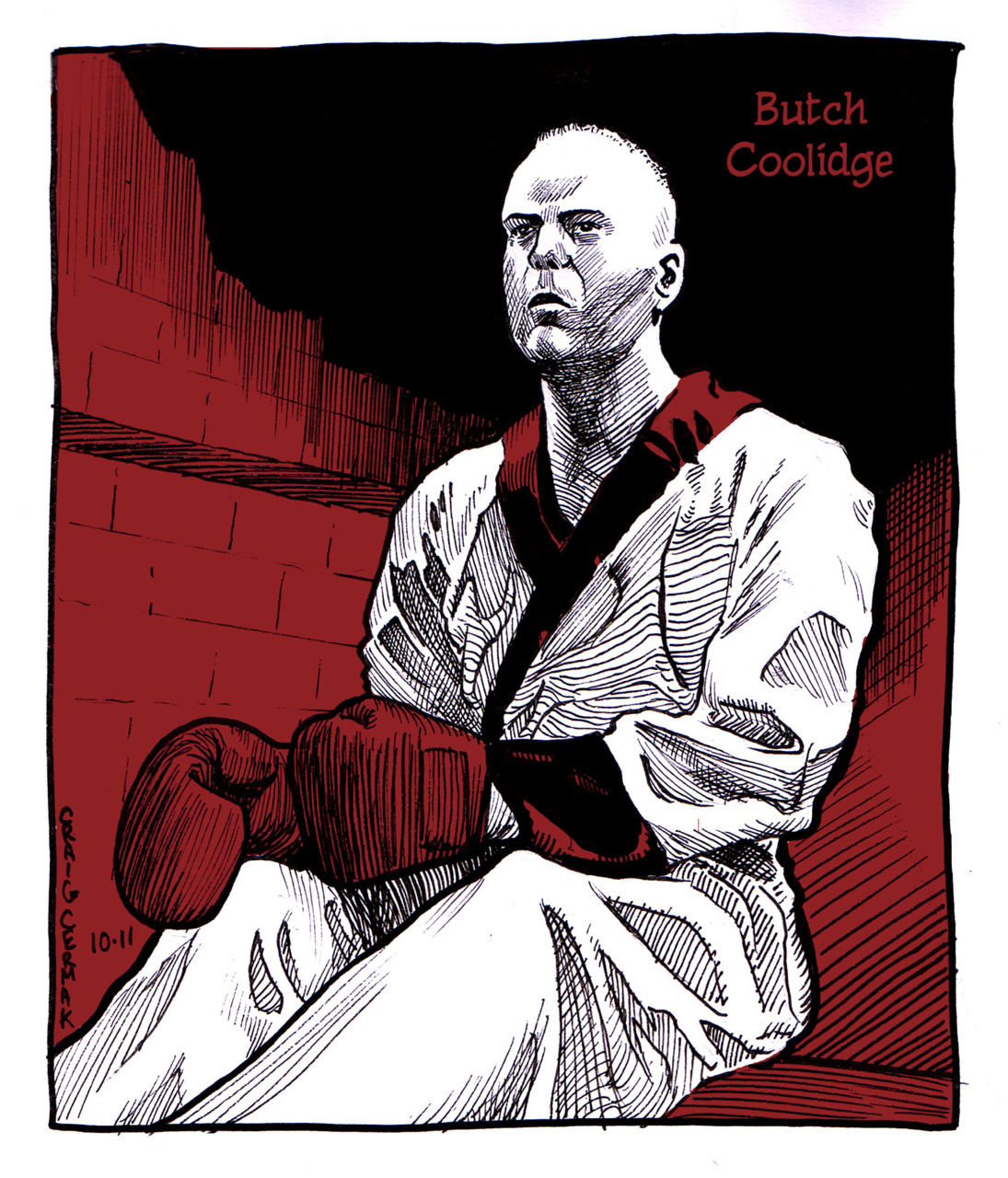 Bruce Willis as Butch Coolidge, from Pulp Fiction Done for this sketchblog I'm a part of, check it out: http://omegasketch.blogspot.com/ I also did some narrative pages awhile ago adapting a scene from Pulp Fiction, so maybe I'm upload those soon for those interested. -Craig Cermak