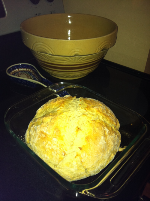 Mmm Irish soda bread. Wish Jay was here to devour it with me…also, notice great grandma maries bread bowl in the background…